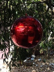 Hanging 250mm Red Stainless Steel Ball
