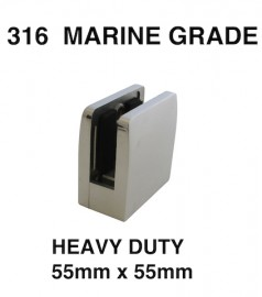 A1350- Heavy Duty Square 316 Stainless Steel Glass Clamp