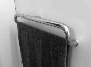 Grab Rail Stainless Steel with Towel Rail 750mm Mirror Satin Black