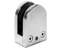 JC-1038- Round 316 Stainless Steel Glass Clamp - Flat Base - 10mm Glass