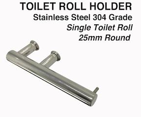 Toilet Roll Holder SINGLE-Round - 25mm Stainless Steel