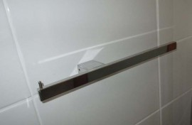 Toilet Roll Holder  with Magazine Rail - Rectangular 25x12 - Rectangular Base - Stainless Steel